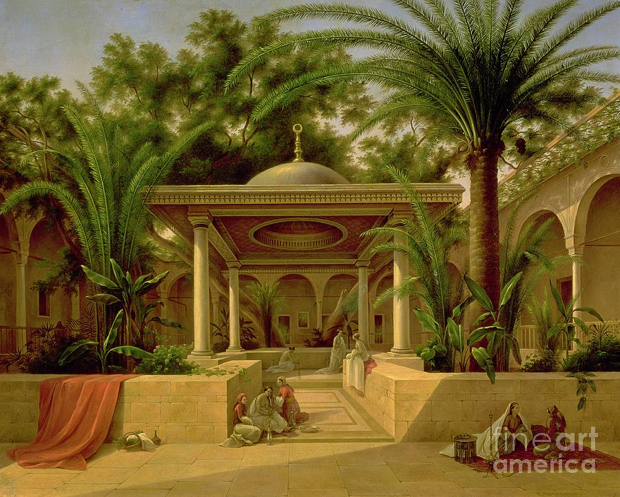 The Painting - The Khabanija Fountain In Cairo by Grigory Tchernezov