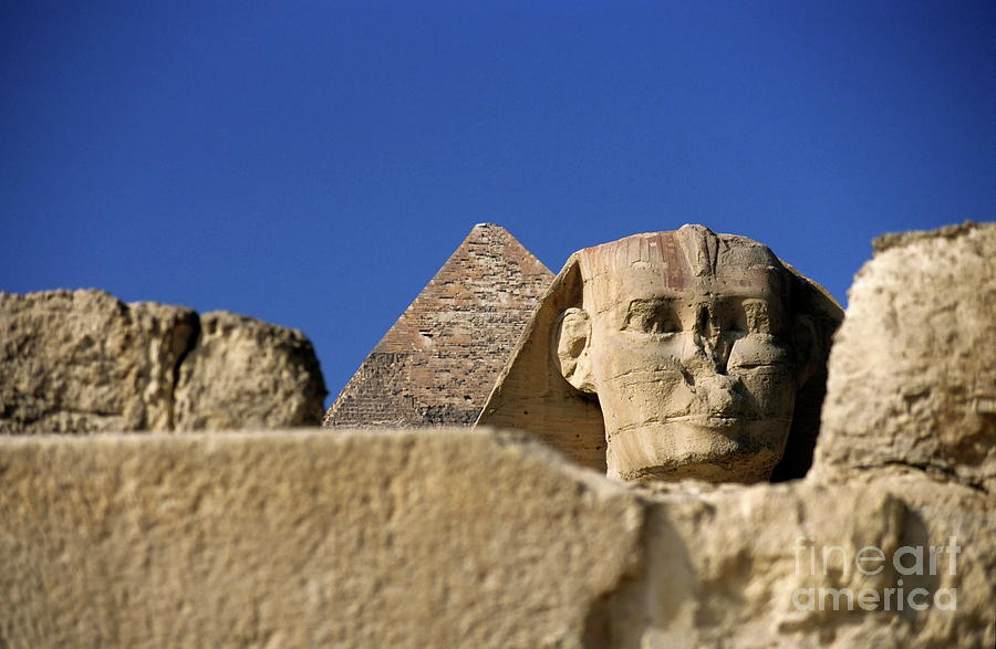 Africa Photograph - The Khephren Pyramid And The Great Sphinx Of Giza by Sami Sarkis