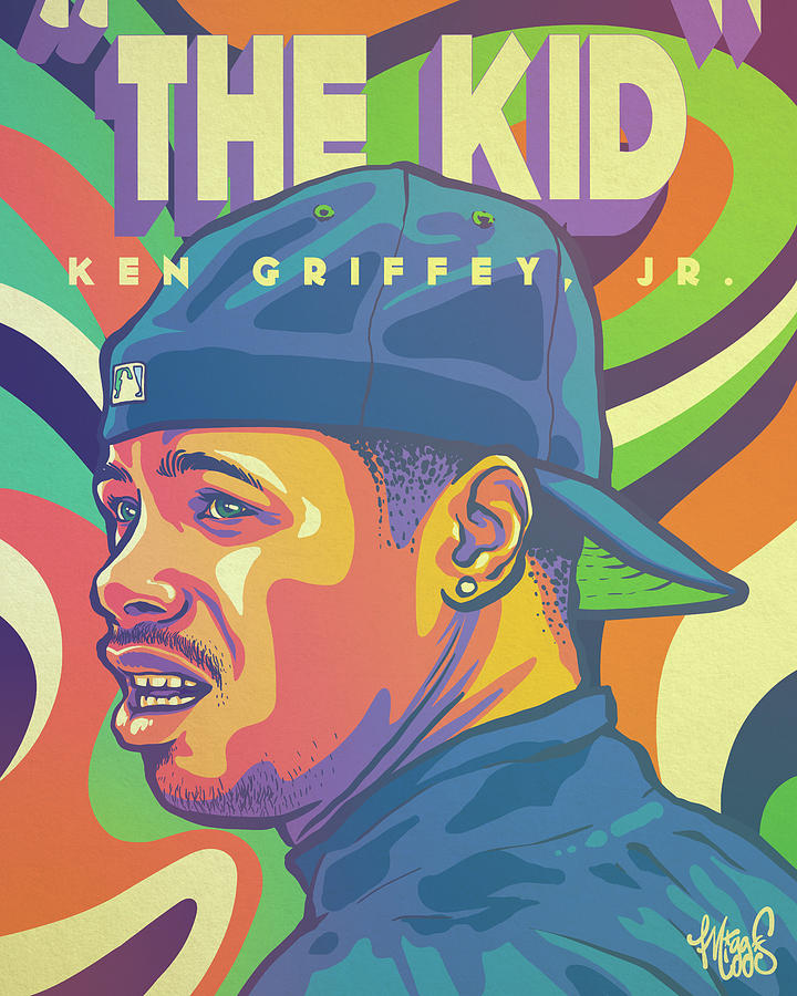 Griffey Drawing - The Kid by Miggs The Artist