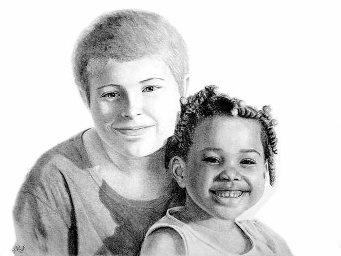 Portraits Drawing - The Kids by Joseph Ogle