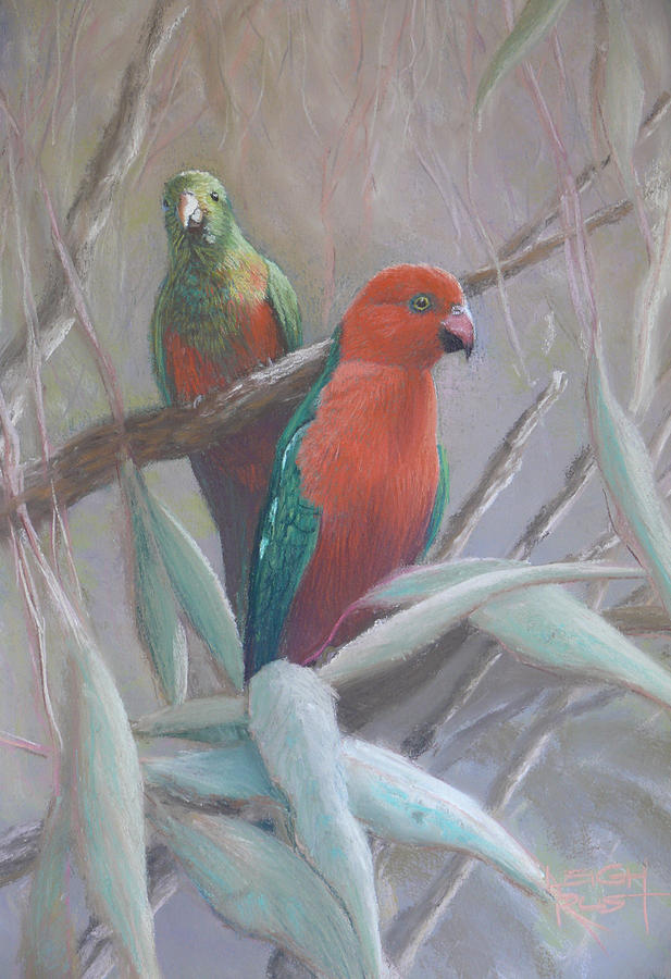 Bird Painting - The King And Queen - King Parrots by Leigh Rust