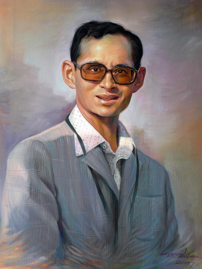 Portrait Painting - The King Bhumibol by Chonkhet Phanwichien