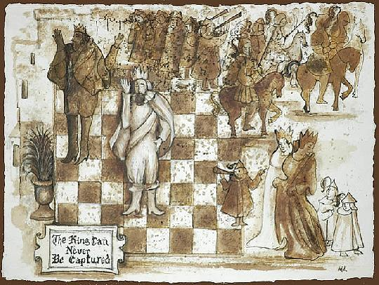Chess Drawing - The King Can Never Be Captured by Marina Kalinovsky