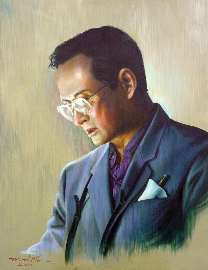Thai Painting - The King Of Thailand by Chonkhet Phanwichien