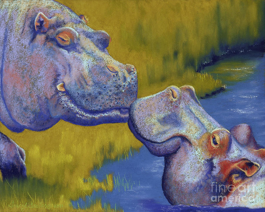 Africa Pastel - The Kiss - Hippos by Tracy L Teeter