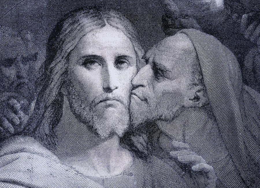 The Kiss Judas Iscariot Kisses Jesus Drawing By Vintage Design Pics