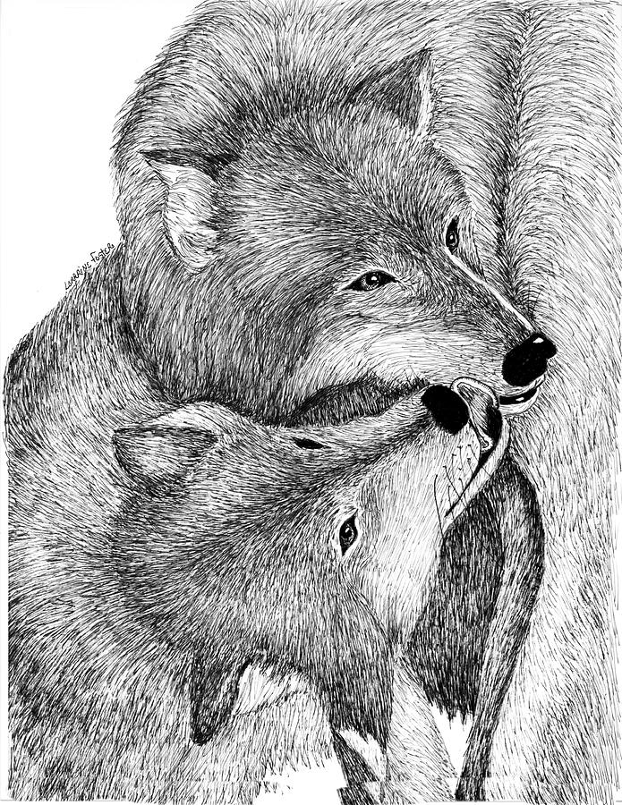 Wolves Drawing - The Kiss by Lorraine Foster