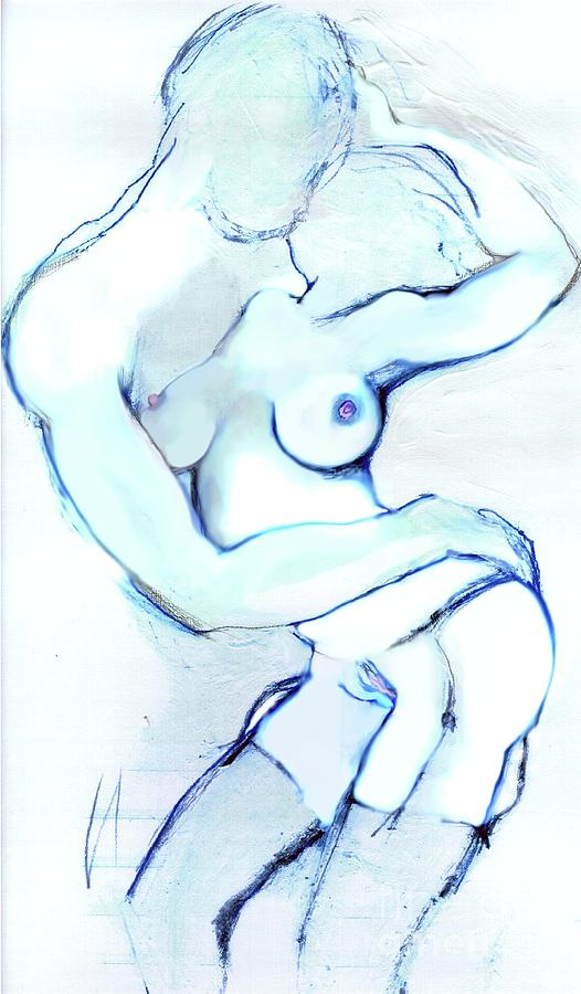 Blue Mixed Media - The Kiss - Loving Couple by Carolyn Weltman