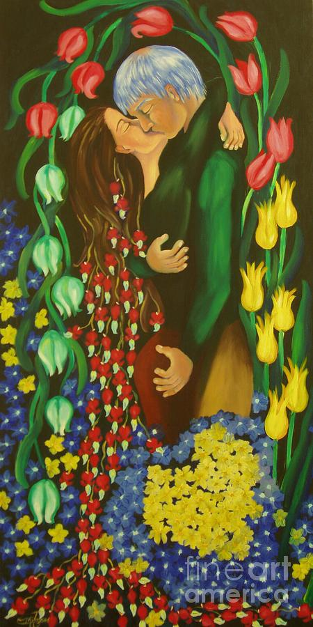 Surreal Painting - The Kiss by Milagros Palmieri