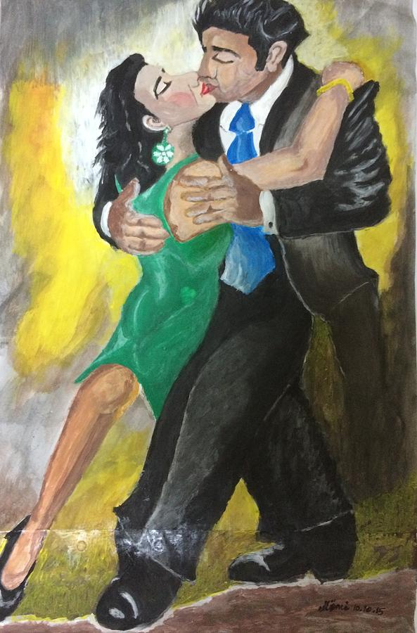 Tango Painting - The Kiss Of Passion by Mimi Eskenazi