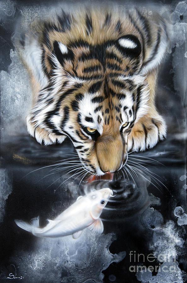 Koi Painting - The Kiss by Sandi Baker