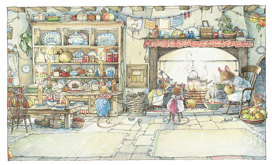 Brambly Hedge Drawing - The Kitchen At Crabapple Cottage by Brambly Hedge