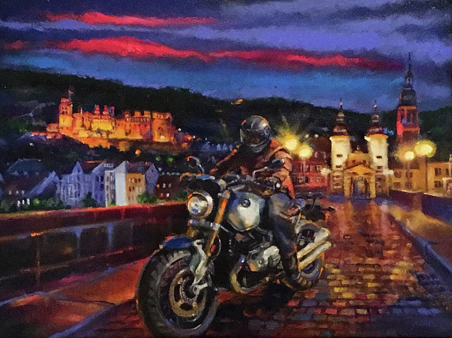 Bmw Motorcycle Painting - The Knight of Heidelberg by BJ Lane