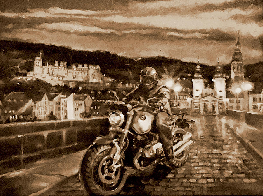 Bmw Painting - The Knight of Heidelberg-Sepia by BJ Lane