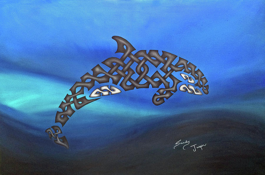 Killer Whale Painting - The Knotty Orca by Sandy Jasper