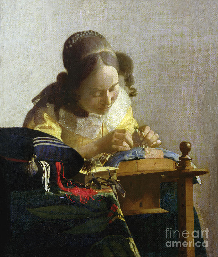 The Painting - The Lacemaker by Jan Vermeer