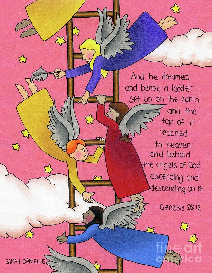 Angels Drawing - The Ladder by Sarah Batalka