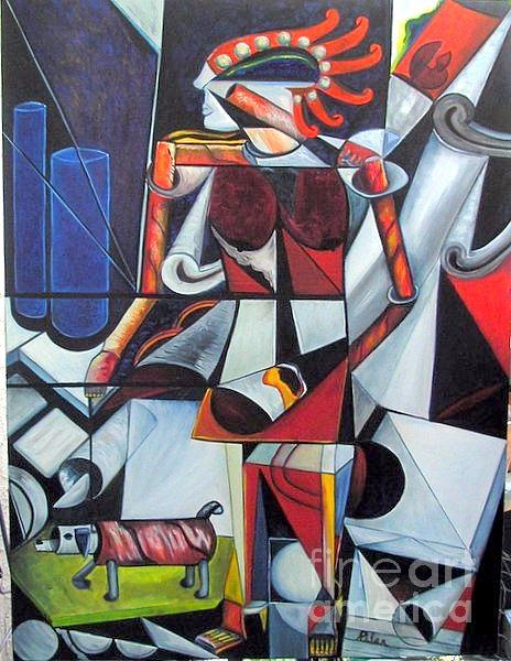 Cubism Painting - The Lady And Her Dog by Pilar  Martinez-Byrne