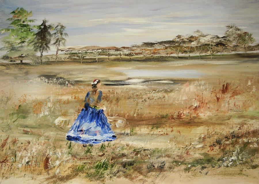 Landscape Painting - The Lady In Blue by Edward Wolverton
