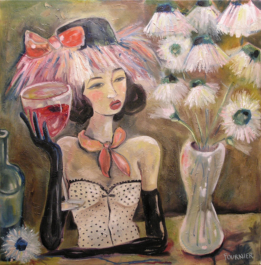 Wine Painting - The Lady In The Flower Hat by Jenna Fournier