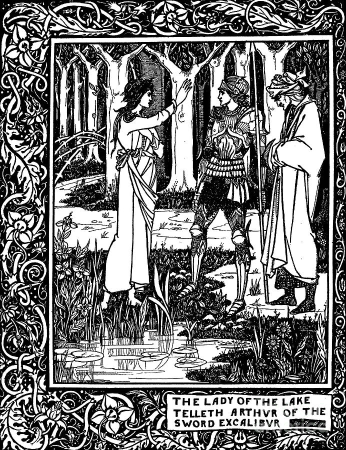 Beardsley Drawing - The Lady Of The Lake Telleth Arthur Of The Sword Excalibur by Aubrey Beardsley