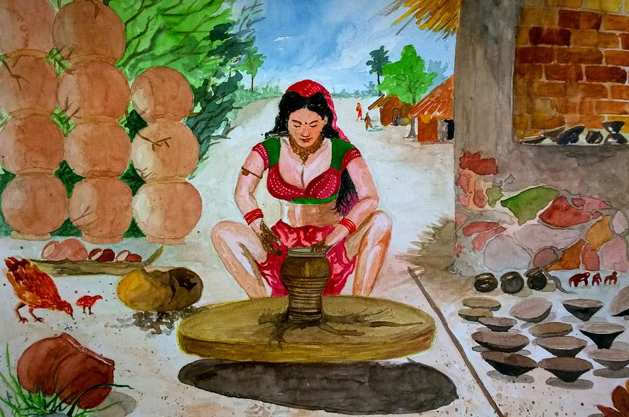 Potter Painting - The Lady Potter by RajKumar Gade