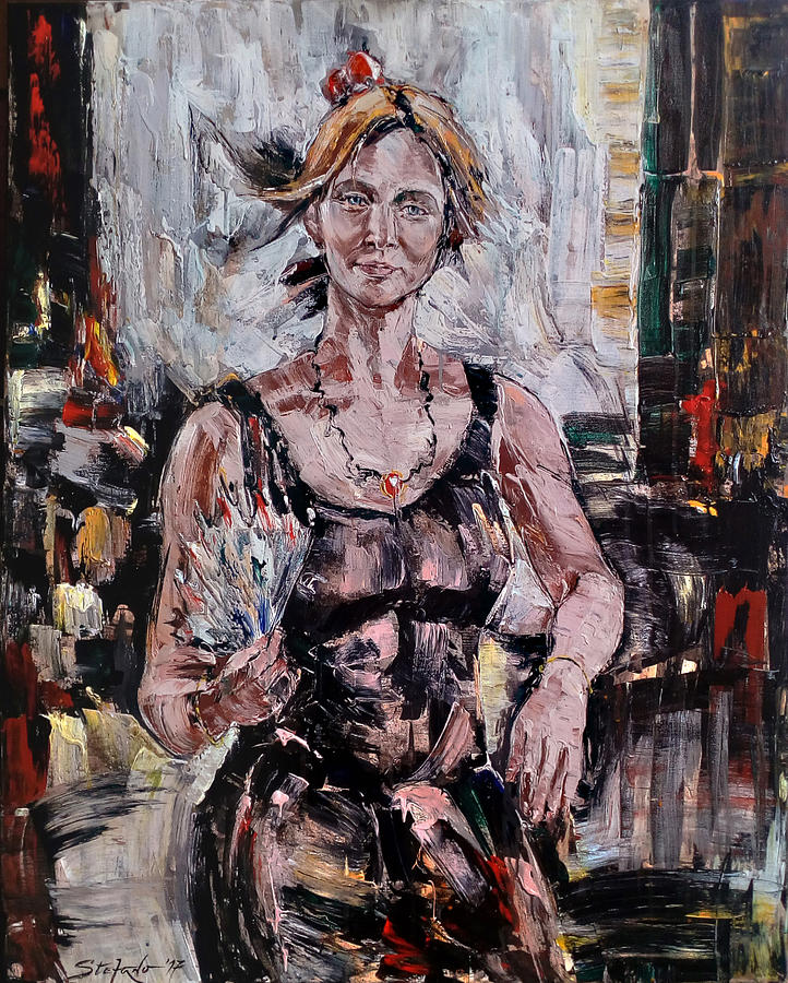 Woman Painting - The Lady With The Fan by Stefano Popovski