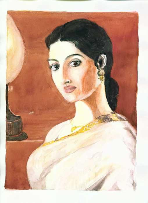 Lady Painting - The Lady With The Light by Mousumi Mani