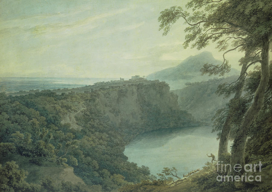 Landscape Painting - The Lake Of Nemi And The Town Of Genzano by John Robert Cozens