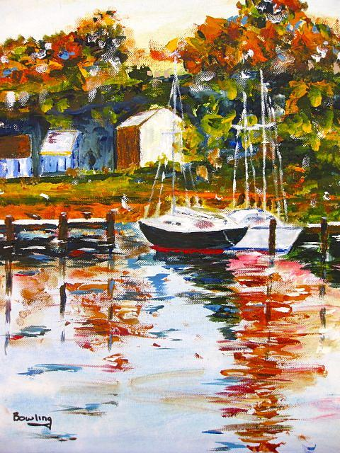 Boat Painting - The Lake by Sam Bowling