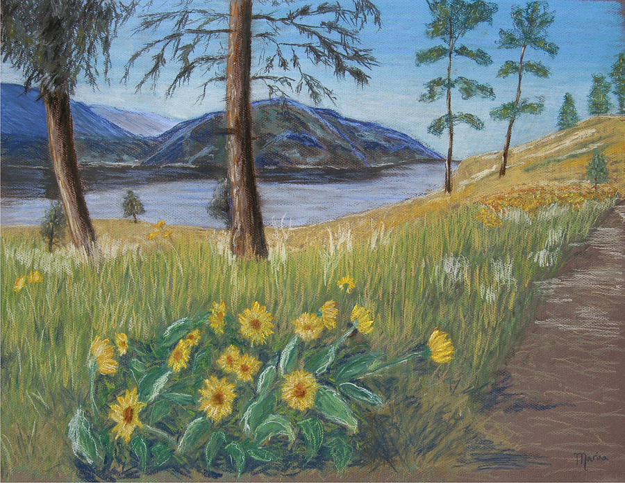 Lake View Painting - The Lake Trail by Marina Garrison
