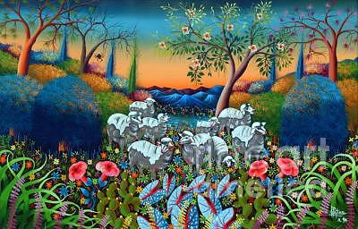 The Lamb Of God Painting - The Lambs Of God by Frantz Petion