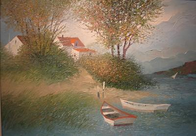 Boat Painting - The Landing by Albert Swayhoover