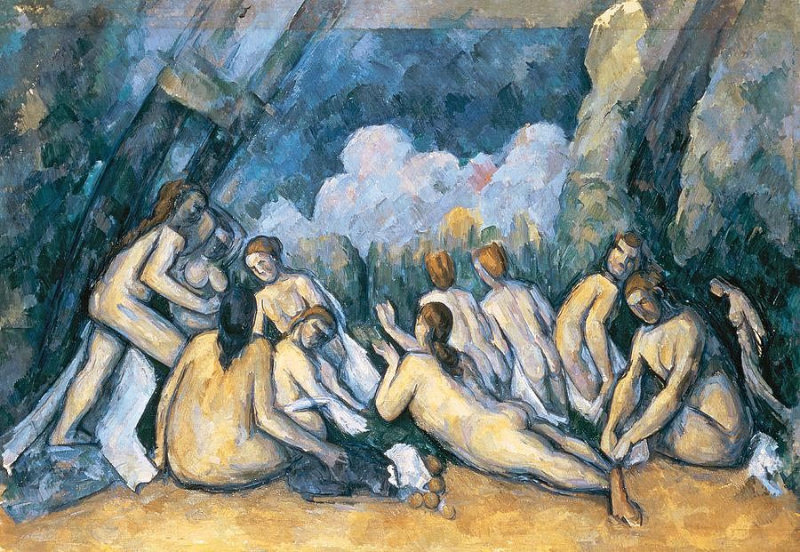 The Painting - The Large Bathers by Paul Cezanne