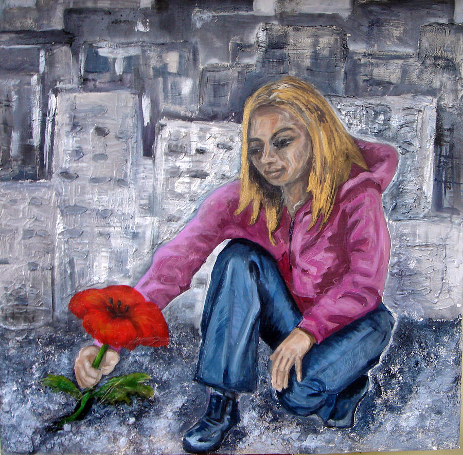 Portrait Painting - The Last Flower by Jenni Walford