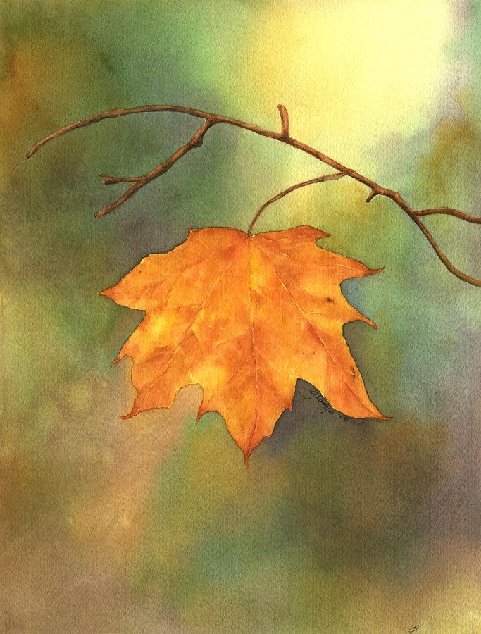 Leaf Painting - The Last Leaf by Gladys Folkers