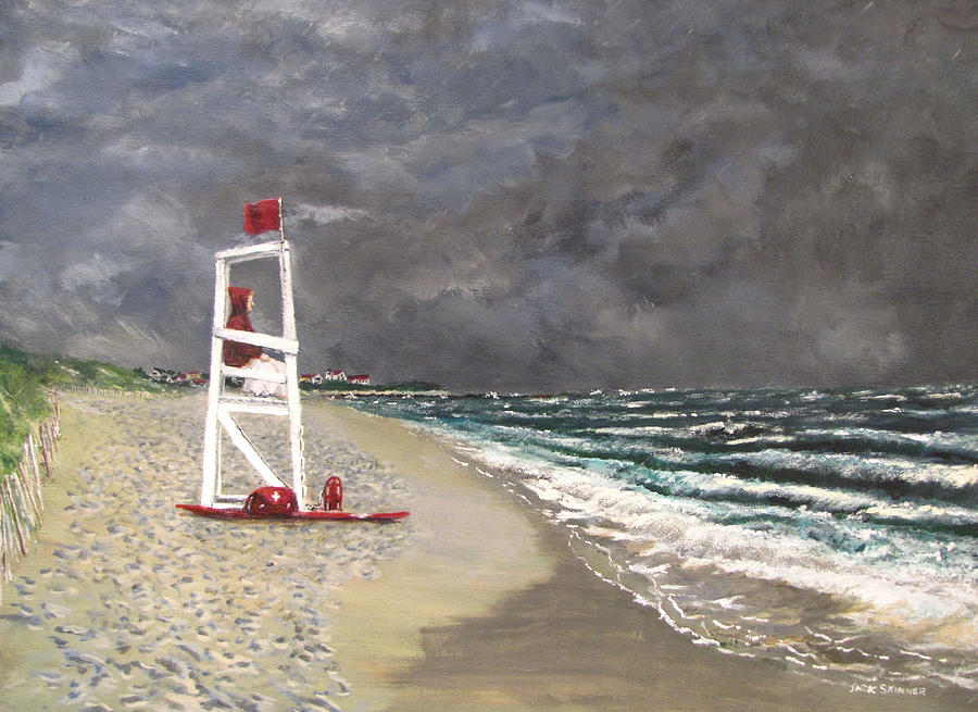 Seascape Painting - The Last Lifeguard by Jack Skinner