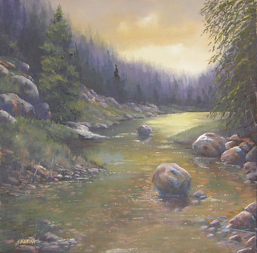 Landscape Painting - The Last Light Of The Day 070327-1212 by Kenneth Shanika