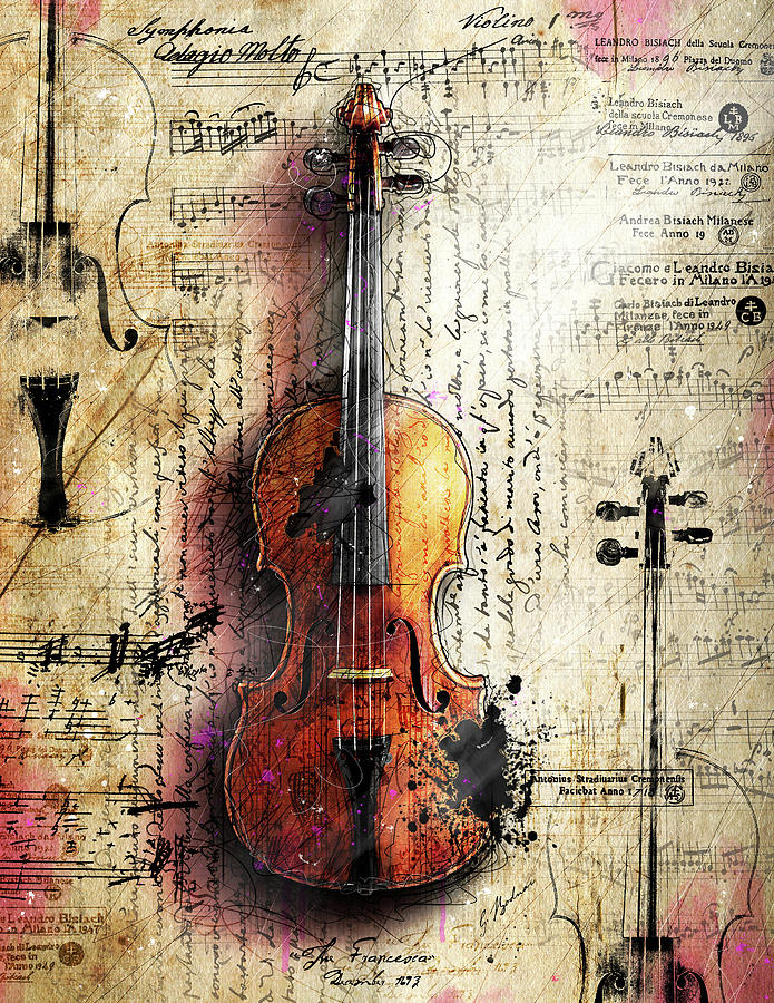 Violin Drawing Digital Art - The Last Partita by Gary Bodnar