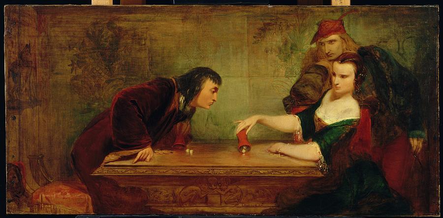 Girl Painting - The Last Throw , Charles Robert Leslie by Charles Robert Leslie