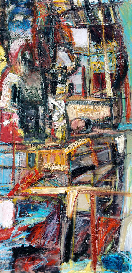 Abstract Figurative Painting - The Last Train by Eul Hurley