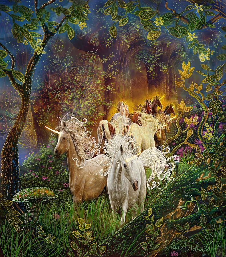 Unicorns Painting - The Last Unicorns by Steve Roberts