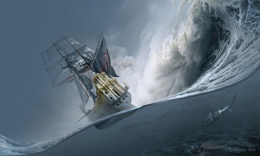 Neo-romanticism Digital Art - The Last Wave by George Grie