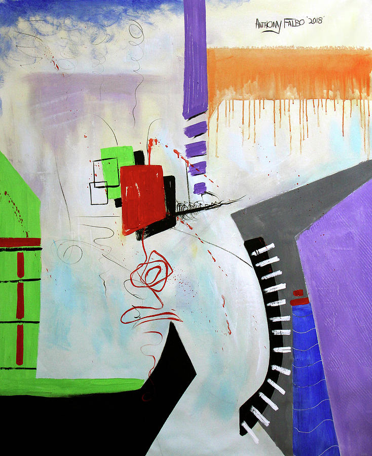 Abstract Painting - The Last Will Be First Matthew 20 14-16 by Anthony Falbo