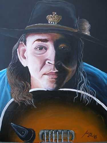 The Late Great Stevie Ray Vaughan With Guitar Painting by Dunbars Local Art Boutique