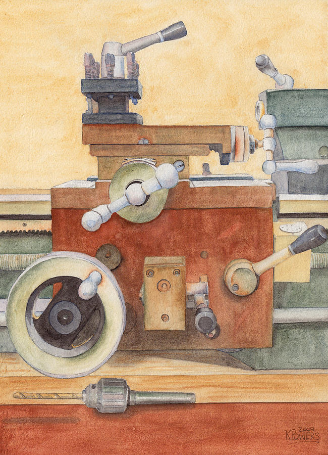 Lathe Painting - The Lathe by Ken Powers