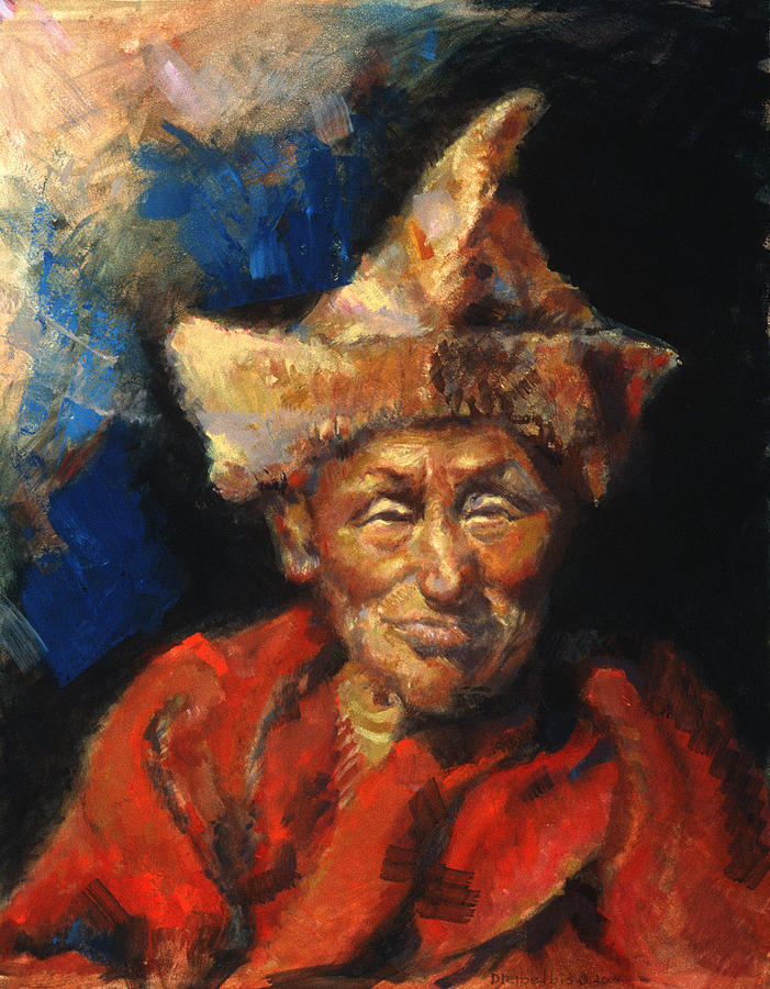 Oil Paintings Painting - The Laughing Monk by Ellen Dreibelbis