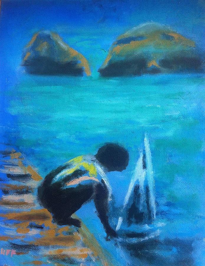 Kid Painting - The Launch Sjosattningen by Enrico Garff