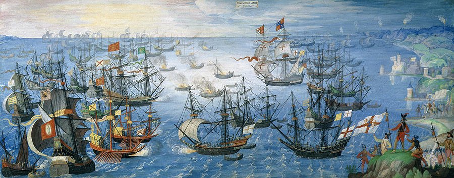 Spanish galleon paintings fine art america spanish galleon painting the launching of english fire ships on the spanish fleet off calais publicscrutiny Choice Image