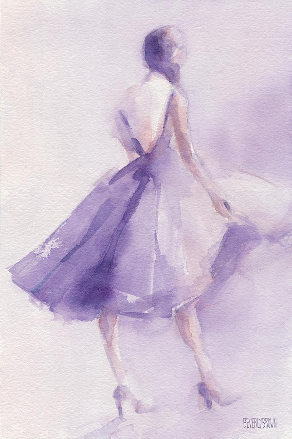 Fashion Painting - The Lavender Dress by Beverly Brown Prints
